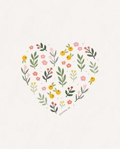 Delightful illustrations by designer Minna So. Graphic designer from Seattle, WA specializing in illustration and branding design. Illustration Blume, Heart Illustration, Pencil Illustration, Art Floral, Watercolor Cards, Watercolor Flowers, Valentines Illustration, May Designs, Floral Illustrations