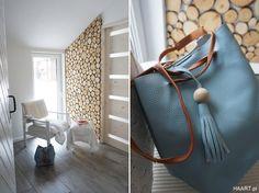 Plastry drewna na ścianie - jak to zrobić samodzielnie? Wooden Wall Design, Wooden Walls, Villa, Plaster, Man Cave, Bucket Bag, Tote Bag, Bedroom, Home Decor