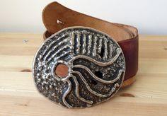Vintage handmade heavy metal buckle craft leather belt XL by Bluetwinklecat on…