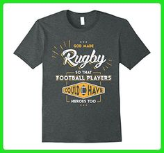 Mens Funny rugby t shirt sayings God Made rugby Football Players Small Dark Heather - Sports shirts (*Amazon Partner-Link)