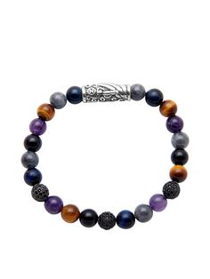 Silver With Black CZ, Burma Jade, Amethyst, Agate, Brown Tiger Eye, an | Nialaya Jewelry