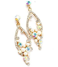 Fancy Earrings C28 Clear AB Crystal Pearl EVening Bridal Post Gold Tone Recyclebabe http://www.amazon.com/dp/B00R391SXY/ref=cm_sw_r_pi_dp_NWfKub1CAJQ8Z