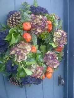 dried hydrangea wreath by Catkin