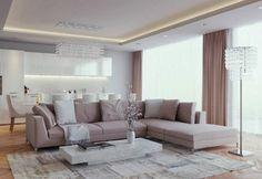 aménagement de salon avec un canapé d'angle et table basse rectangulaire