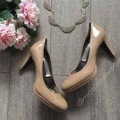 """Tahari Patent Platform Heels Beautiful, patent, neutral heels are a closet staple. These platforms by Tahari are well made. Worn once to graduation. 3.5"""" heel. 1/2"""" platform. Excellent condition. No box. Tahari Shoes Heels"""