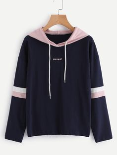 2017 New Fashion Autumn Winter Harajuku Tracksuit Womens Striped Embroidery Letter Hoodie Sweatshirt Hooded Pullover Tops Blouse Hoodie Sweatshirts, Sweater Hoodie, Hoodies, Bts Hoodie, Kawaii Clothes, Look Cool, Korean Fashion, Fashion Outfits, Fast Fashion