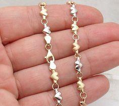 Solid Shiny /& Satin Heart Link Charm Anklet Ankle Bracelet REAL 14K White Gold