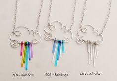 Rain Cloud Necklace Choose Rainbow or par RefreshingDesigns