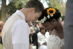 Recently married interracial couple Just bless them find your love at www.mixedfishes.com  #mixedfishes #mixeddating