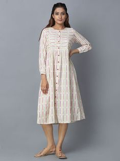 Off White Red Cotton Ikat Shirt Dress