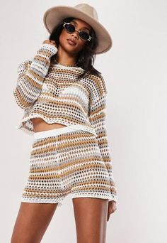 White Tonal Stripe Crochet Co Ord Shorts | Missguided Summer Shorts Outfits, Short Outfits, Casual Outfits, Fashion Outfits, Crochet Shorts Outfit, Crochet Clothes, Fashion Bubbles, Crochet Slipper Pattern, Crochet Woman