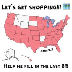8 states to go lets make it happen!!! The pink states are the ones I have shipped to!! Only  8 states to go who wants to shop with @jmacci7 today?!? States: Montana, Idaho, Wyoming, South Dakota, Arkansas, Alaska, Vermont, and Delaware!!! Other