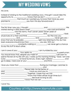 Mad-Libs Style Wedding Vows - Kiss My Tulle - Wedding Wedding Games, Wedding Dj, Tulle Wedding, Wedding Programs, Wedding Guest Book, Wedding Engagement, Wedding Ceremony, Dream Wedding, Wedding Stuff