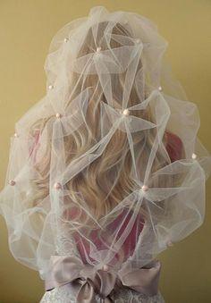Charlotte veil,  bespoke wedding veil, back view