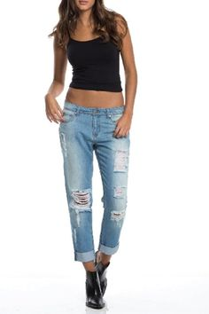Jegging boyfriend pants that are cuffed at the ankle and distressed allover.    Jeggings Boyfriend Pants by Elan International. Clothing - Bottoms - Jeans & Denim - Distressed Clothing - Bottoms - Jeans & Denim - Boyfriend Miami, Florida
