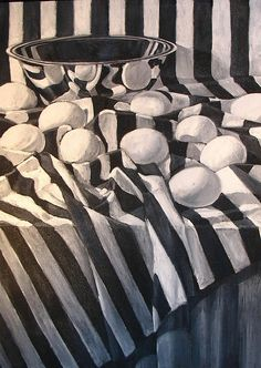 Ten Eggs on Striped Cloth by dpaynearteacher, via Flickr #art, #drawing