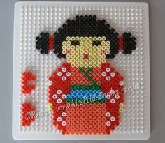 Cute little geisha! Perler Bead Designs, Perler Bead Templates, Hama Beads Design, Perler Bead Art, Pearler Bead Patterns, Perler Patterns, Diy Kawaii, Art Perle, Motifs Perler
