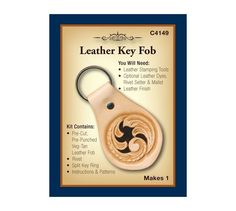 Realeather Key Fob Kit.  Classic shaped leather fob ready to personalize with a stamped design, initials or add a concho. Color with leather dye, stain, use permanent markers or leave natural. Be sure to add a protective leather finish.