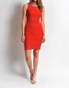Obsessed To Dress - Sheer Stripe Body-Con Dress- Red, $34.99 ObsessedToDress.com