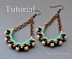 Inflorescence - bead weaving earrings tutorial. A design with CzechMates tiles, SuperDuo beada, Rulla beads and seed beads 11/0.