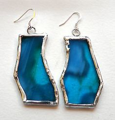 Stained glass earrings in blue.