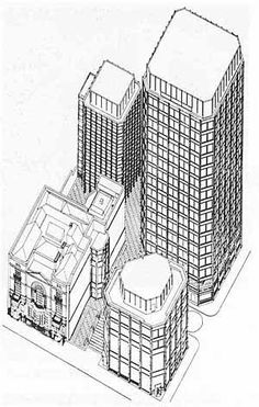 Peter & Alisson Smithsons - The Economist Building - 1959 Architecture Graphics, Architecture Drawings, Architecture Portfolio, Architecture Plan, Architecture Diagrams, Tectonic Architecture, Alison And Peter Smithson, Axonometric Drawing, Plan Sketch