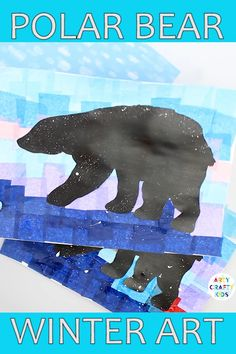 Printable Polar Bear Winter Art project for kids. Print the polar bear silhouette and create a beautiful Winter scene out of tissue paper! Animal Art Projects, Winter Art Projects, Winter Crafts For Kids, Winter Fun, Bear Crafts Preschool, Polar Bear Crafts, Toddler Crafts, Kid Crafts, Artic Animals
