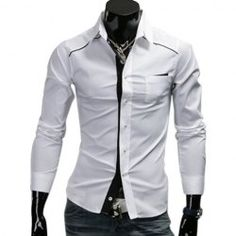 $10.09 Fashionable Shirt Collar Solid Color Purfled Design Long Sleeves Polyester Shirt For Men