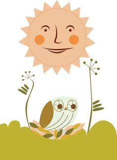 Owl Sun Art Print Pinned by www.myowlbarn.com