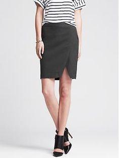 Gray Flannel Faux-Wrap Skirt   Banana Republic