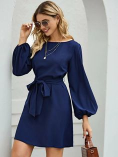 Belted Bishop Sleeve Mini Blue Dress #affiliatelink #bluedress #dresses