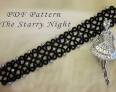 Tatting lace bracelet pdf pattern Butterfly Garden by TheKimAndI