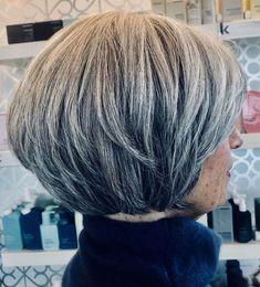 Layered Short Gray Bob Short Thin Hair, Short Grey Hair, Short Hair With Layers, Short Hair Cuts For Women, Side Bangs Hairstyles, Bob Hairstyles, Updo Hairstyle, Wedding Hairstyles, Hair Styles 2016