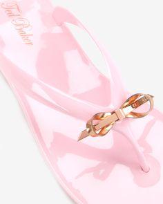 Slim bow jelly flip flops - Light Pink | Shoes | Ted Baker