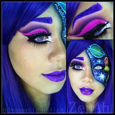 ZenAh Close up of the makeup half from the galaxy inspired look. Purple Cut Crease & bright pink glitter on the lid, Purple Glitter lips & brows!