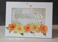Lovely shaker card with vellum window - easy to replicate with Stampin Up supplies