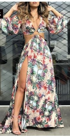 Women's Summer Fashion, Look Fashion, Womens Fashion, Nice Dresses, Casual Dresses, Summer Dresses, Plus Clothing, Maxi Dress With Slit, Looks Chic