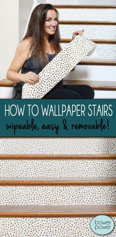 Guys if I can do this DIY while in my third trimester with four little boys – anybody can. TRUST ME. It's super simple, makes a huge impact and is completely removable if you are renting, prone to…More Wallpaper Stairs, Diy Wallpaper, Target Wallpaper, Adhesive Wallpaper, Diy Spring, Do It Yourself Design, Stair Walls, Stairs Vinyl, Plank Walls