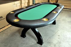 Patrick's Day themed custom Elite poker table with suited speed cloth and X-legs Custom Tables, Wooden Leg, Poker Table, Legs, House, Blue Prints, Home, Homes, Bridge