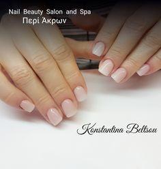 Acrylic nails, Babyboomer, short nails, square Oval Shape nails