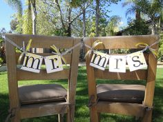 MR and MRS wedding chair hanger signs by CowCountryCreations, $12.00