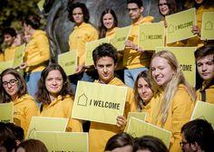 Activists from Amnesty France show that they welcome refugees, Place de la Republique, Paris, October 2016.