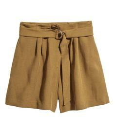 High-waisted Shorts   Khaki   Women   H&M US