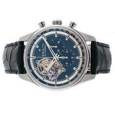 Pre-Owned Zenith El Primero Chronomaster 1969 (0320406406151C700) self-winding automatic watch, features a 42mm stainless steel case surrounding a blue ske