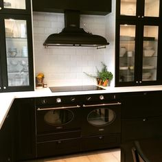 SMEG range hood and IKEA LAXARBY cabinets