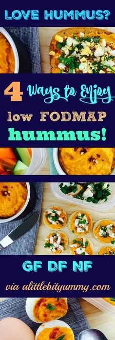 Low FODMAP & Gluten free recipe - Dairy free - Nut free Need snack inspiration? Check out the link to find out four delicious ways to enjoy low FODMAP hummus. Fodmap Recipes, Diet Recipes, Vegetarian Recipes, Healthy Recipes, Fodmap Diet, Low Fodmap, Fodmap Foods, Dairy Free Diet, Gluten Free