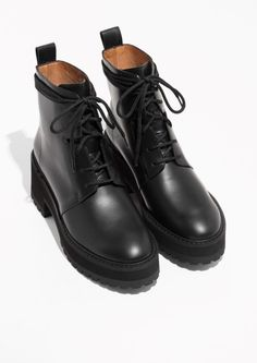 65eca66771 Other Stories image 2 of Leather Platform Lace-Up Boots in Black Schuh  Stiefel
