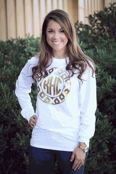 White Shirt With Mint Border And Gold Glitter Initialsbow - Glitter custom vinyl decals for shirts