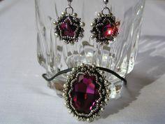 "Set ""Victoria"", with Swarovski stones and Miyuki beads."