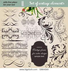 elementos de diseño vintage caligráficos y decoración de la página - un montón de elementos útiles